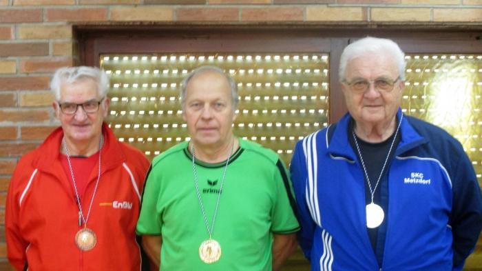 Bild zeigt die Medaillengewinner der Senioren C Rudi Schödel, Peter Wuthe und Werner Göttlicher (v.l.n.r.)